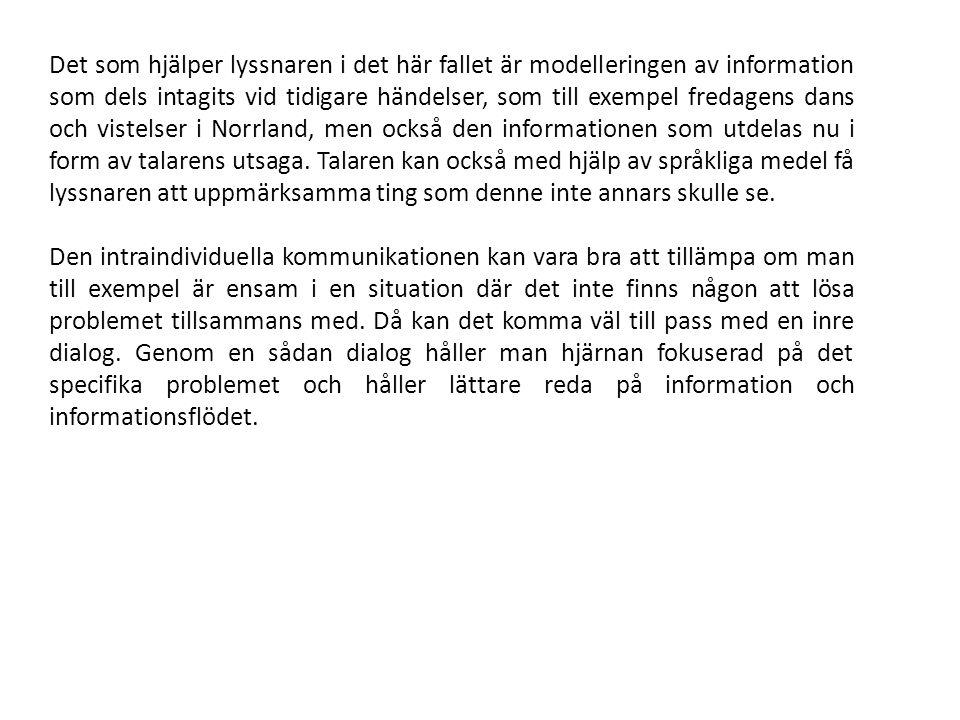 Det som hjälper lyssnaren i det här fallet är modelleringen av information som dels intagits vid tidigare händelser, som till exempel fredagens dans och vistelser i Norrland, men också den informationen som utdelas nu i form av talarens utsaga.
