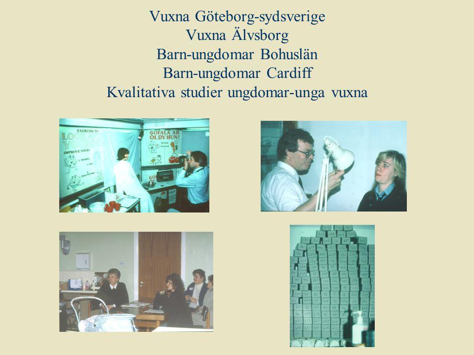 Vuxna Göteborg-sydsverige Vuxna Älvsborg Barn-ungdomar Bohuslän Barn-ungdomar Cardiff Kvalitativa studier ungdomar-unga vuxna