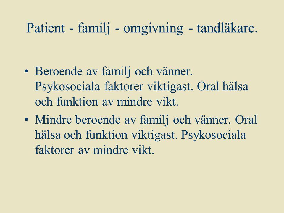 Patient - familj - omgivning - tandläkare. Beroende av familj och vänner. Psykosociala faktorer viktigast. Oral hälsa och funktion av mindre vikt. Min