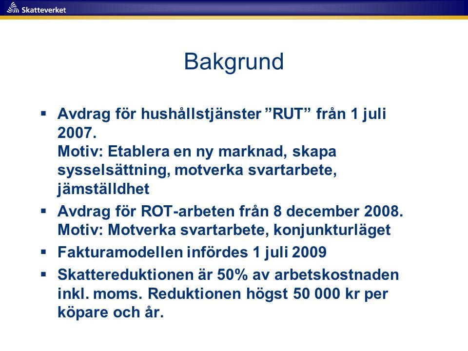 """Bakgrund  Avdrag för hushållstjänster """"RUT"""" från 1 juli 2007. Motiv: Etablera en ny marknad, skapa sysselsättning, motverka svartarbete, jämställdhet"""
