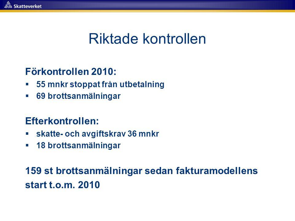 Riktade kontrollen Förkontrollen 2010:  55 mnkr stoppat från utbetalning  69 brottsanmälningar Efterkontrollen:  skatte- och avgiftskrav 36 mnkr 