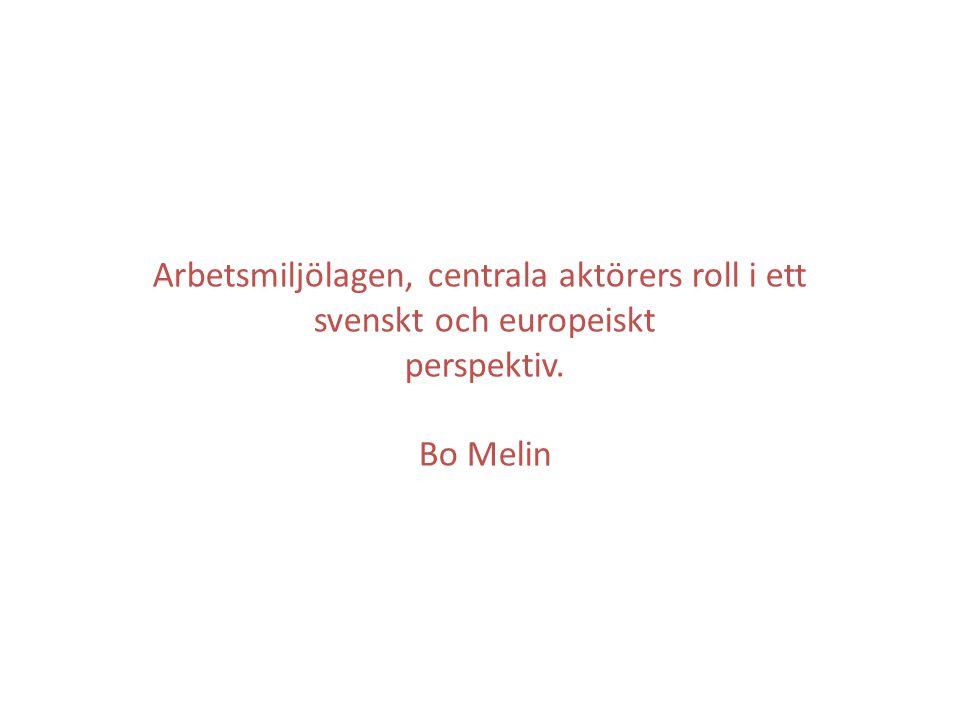 Arbetsmiljölagen, centrala aktörers roll i ett svenskt och europeiskt perspektiv. Bo Melin