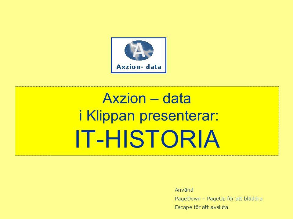 Axzion – data i Klippan presenterar: IT-HISTORIA Använd PageDown – PageUp för att bläddra Escape för att avsluta