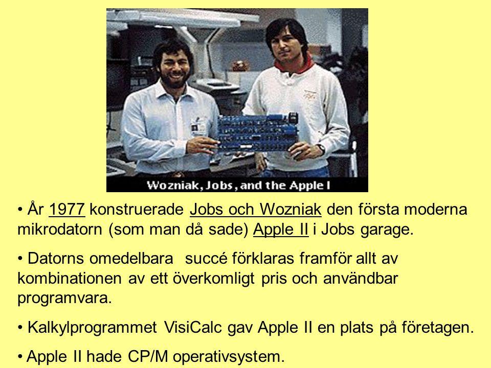 År 1977 konstruerade Jobs och Wozniak den första moderna mikrodatorn (som man då sade) Apple II i Jobs garage.