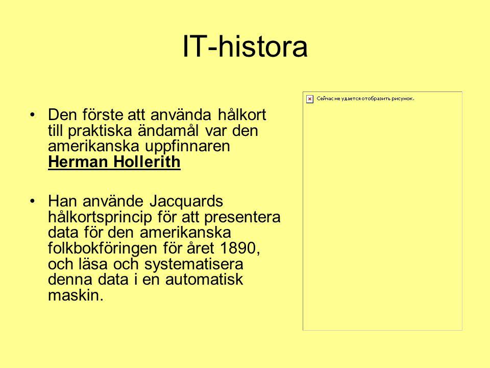 IT-histora Den förste att använda hålkort till praktiska ändamål var den amerikanska uppfinnaren Herman Hollerith Han använde Jacquards hålkortsprincip för att presentera data för den amerikanska folkbokföringen för året 1890, och läsa och systematisera denna data i en automatisk maskin.