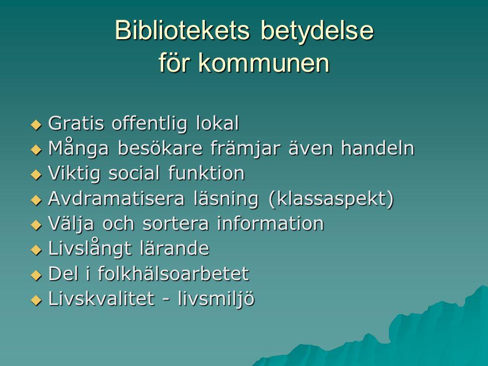 Bibliotekets betydelse för kommunen  Gratis offentlig lokal  Många besökare främjar även handeln  Viktig social funktion  Avdramatisera läsning (klassaspekt)  Välja och sortera information  Livslångt lärande  Del i folkhälsoarbetet  Livskvalitet - livsmiljö