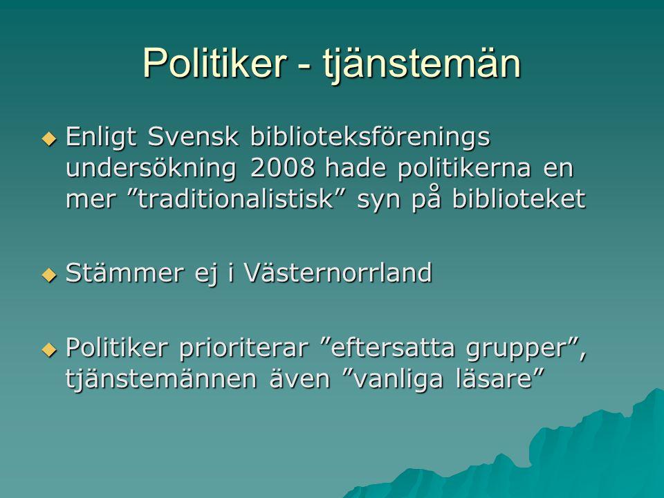 Politiker - tjänstemän  Enligt Svensk biblioteksförenings undersökning 2008 hade politikerna en mer traditionalistisk syn på biblioteket  Stämmer ej i Västernorrland  Politiker prioriterar eftersatta grupper , tjänstemännen även vanliga läsare