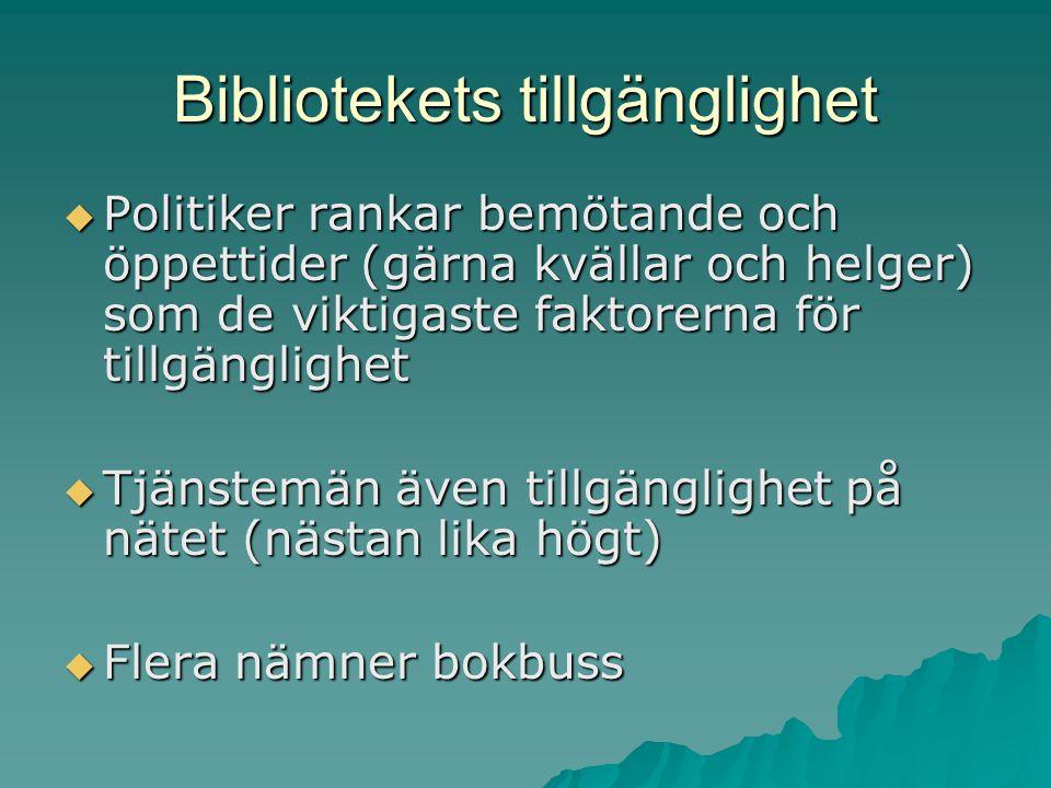 Bibliotekets tillgänglighet  Politiker rankar bemötande och öppettider (gärna kvällar och helger) som de viktigaste faktorerna för tillgänglighet  Tjänstemän även tillgänglighet på nätet (nästan lika högt)  Flera nämner bokbuss