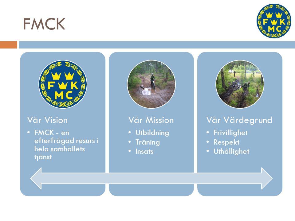 FMCK Vår Vision FMCK - en efterfrågad resurs i hela samhällets tjänst Vår Mission Utbildning Träning Insats Vår Värdegrund Frivillighet Respekt Uthåll