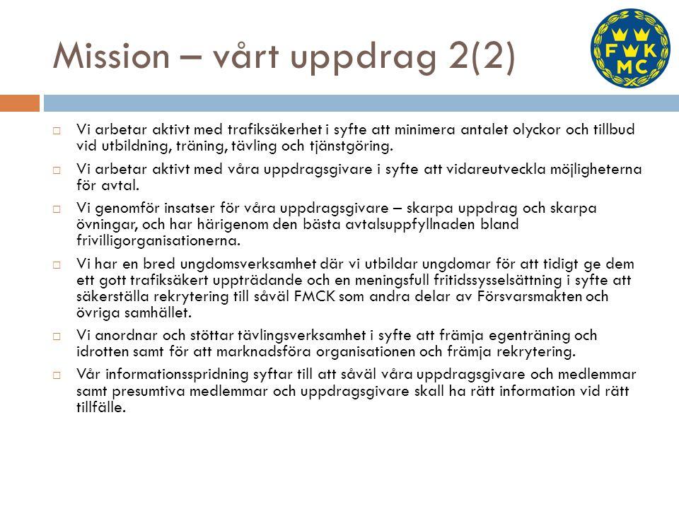Mission – vårt uppdrag 2(2)  Vi arbetar aktivt med trafiksäkerhet i syfte att minimera antalet olyckor och tillbud vid utbildning, träning, tävling o