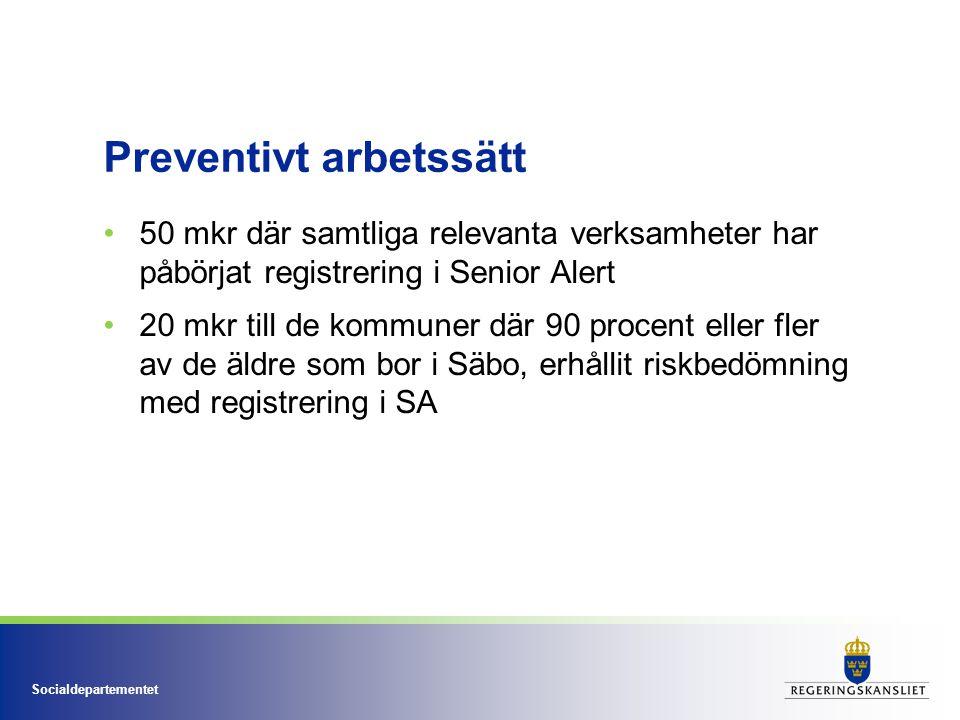 Socialdepartementet Preventivt arbetssätt 50 mkr där samtliga relevanta verksamheter har påbörjat registrering i Senior Alert 20 mkr till de kommuner