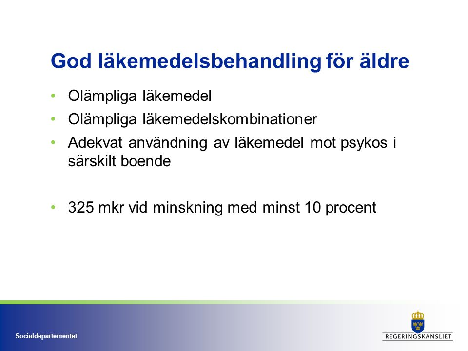Socialdepartementet God läkemedelsbehandling för äldre Olämpliga läkemedel Olämpliga läkemedelskombinationer Adekvat användning av läkemedel mot psyko