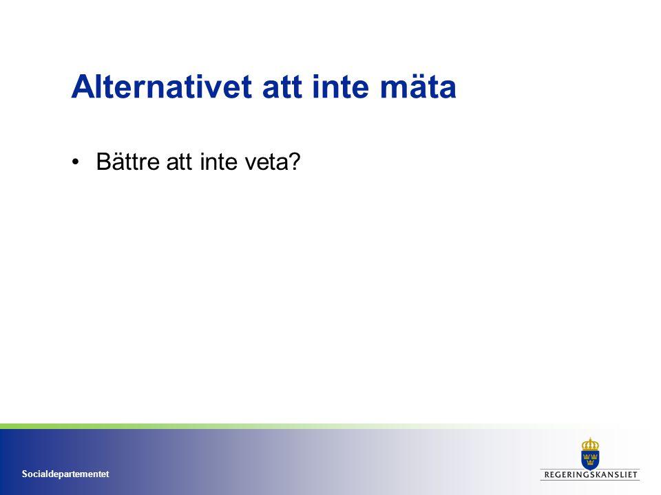 Socialdepartementet Alternativet att inte mäta Bättre att inte veta?