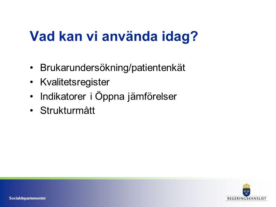 Socialdepartementet Vad kan vi använda idag? Brukarundersökning/patientenkät Kvalitetsregister Indikatorer i Öppna jämförelser Strukturmått
