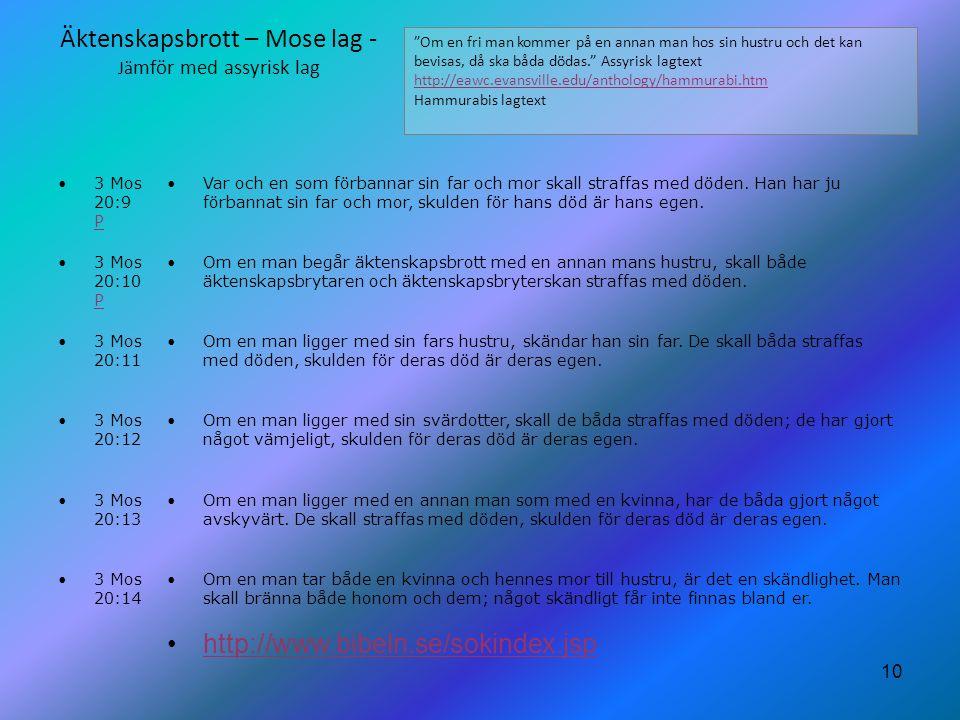 10 Äktenskapsbrott – Mose lag - Jä mför med assyrisk lag 3 Mos 20:9 P P Var och en som förbannar sin far och mor skall straffas med döden. Han har ju