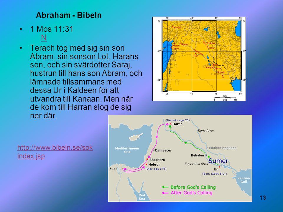 13 Abraham - Bibeln 1 Mos 11:31 NN Terach tog med sig sin son Abram, sin sonson Lot, Harans son, och sin svärdotter Saraj, hustrun till hans son Abram