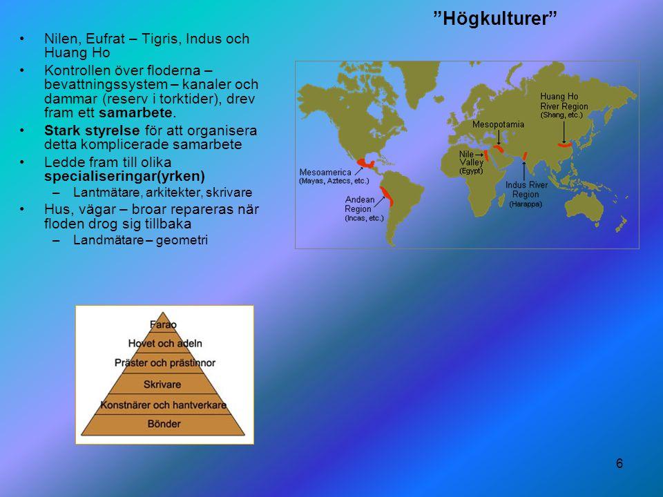 """6 """"Högkulturer"""" Nilen, Eufrat – Tigris, Indus och Huang Ho Kontrollen över floderna – bevattningssystem – kanaler och dammar (reserv i torktider), dre"""