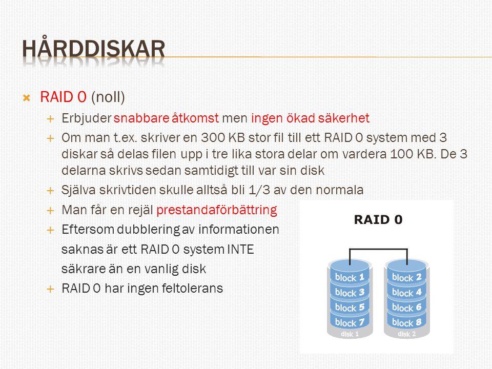  RAID 0 (noll)  Erbjuder snabbare åtkomst men ingen ökad säkerhet  Om man t.ex. skriver en 300 KB stor fil till ett RAID 0 system med 3 diskar så d
