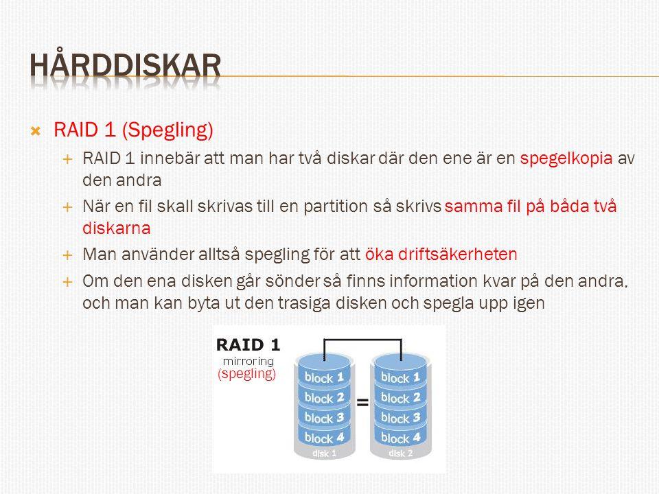  RAID 1 (Spegling)  RAID 1 innebär att man har två diskar där den ene är en spegelkopia av den andra  När en fil skall skrivas till en partition så