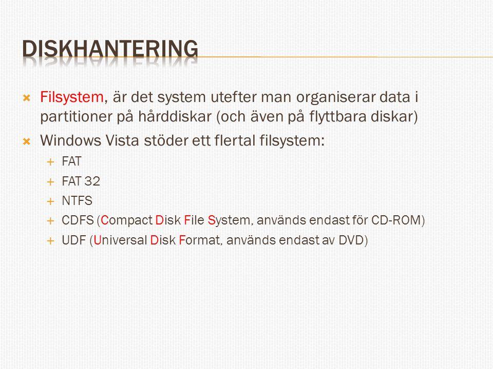  Filsystem, är det system utefter man organiserar data i partitioner på hårddiskar (och även på flyttbara diskar)  Windows Vista stöder ett flertal