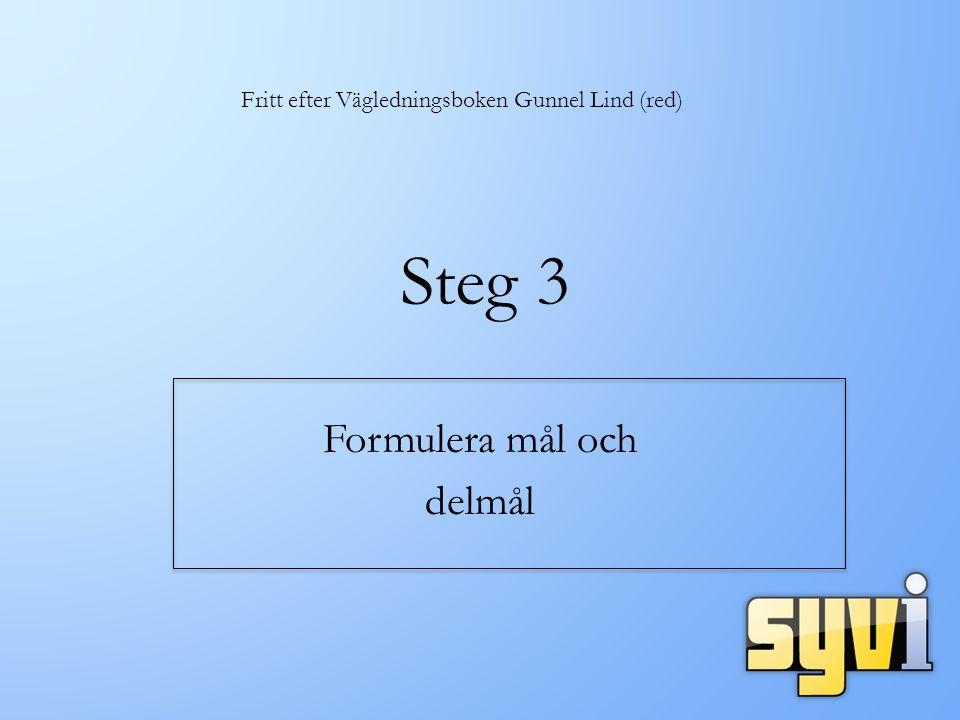 Steg 3 Formulera mål och delmål Fritt efter Vägledningsboken Gunnel Lind (red)