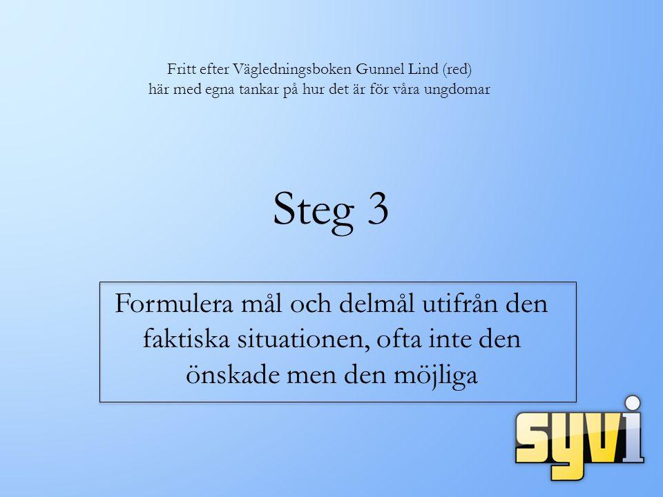 Steg 3 Formulera mål och delmål utifrån den faktiska situationen, ofta inte den önskade men den möjliga Fritt efter Vägledningsboken Gunnel Lind (red) här med egna tankar på hur det är för våra ungdomar