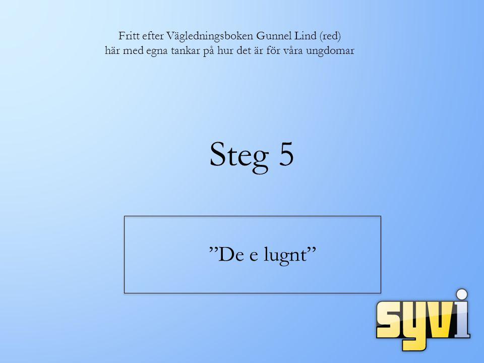 Steg 5 De e lugnt Fritt efter Vägledningsboken Gunnel Lind (red) här med egna tankar på hur det är för våra ungdomar