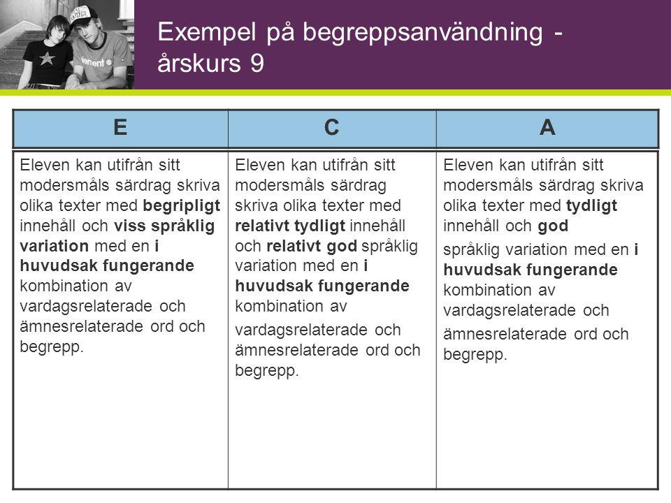 Kunskapskrav - 6E och 9E Eleven kan utifrån sitt modersmåls särdrag uttrycka sig enkelt i skrift med viss språklig variation och inslag av ämnesrelaterade ord och begrepp.