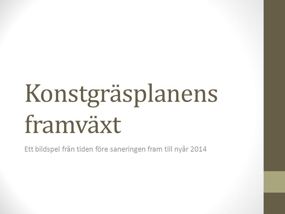 Konstgräsplanens framväxt Ett bildspel från tiden före saneringen fram till nyår 2014