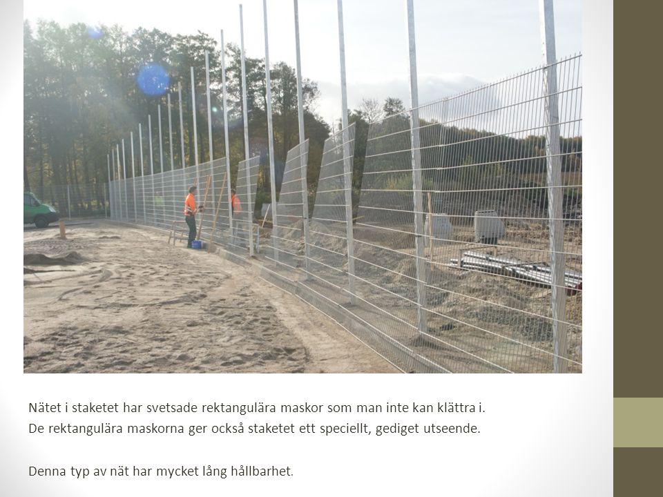 Nätet i staketet har svetsade rektangulära maskor som man inte kan klättra i.