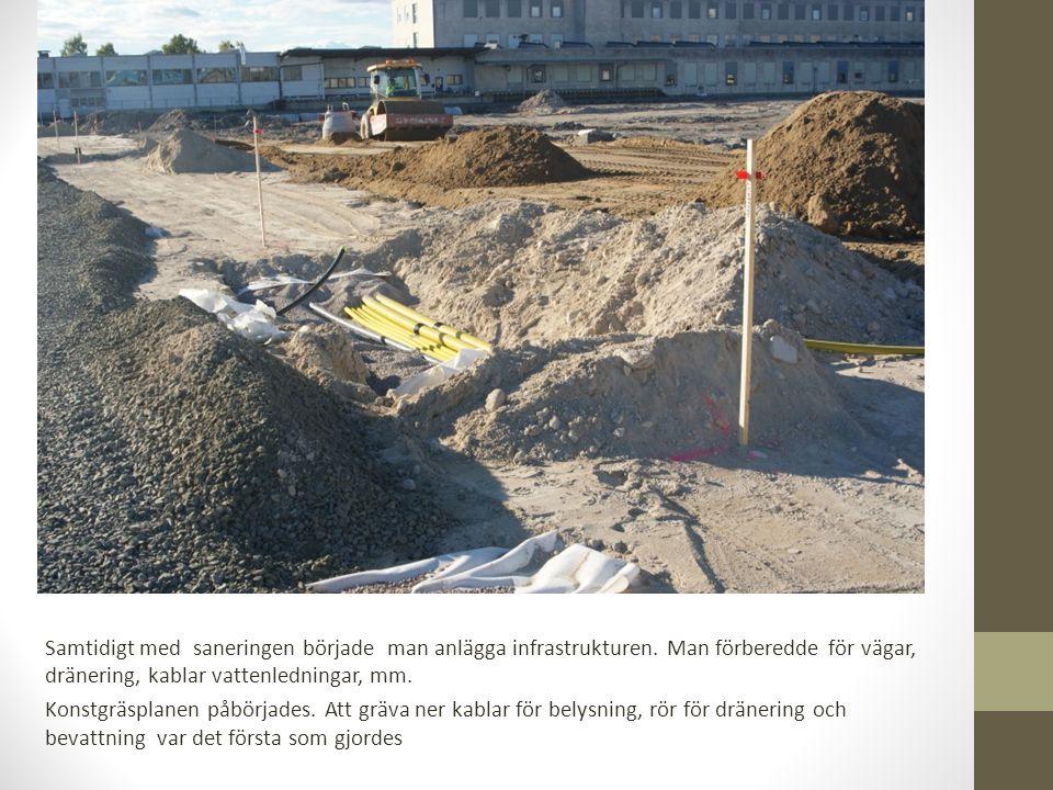 Samtidigt med saneringen började man anlägga infrastrukturen.