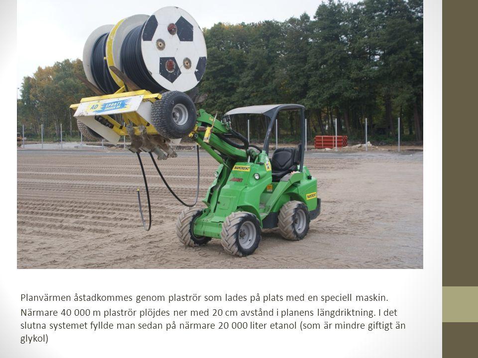 Planvärmen åstadkommes genom plaströr som lades på plats med en speciell maskin.