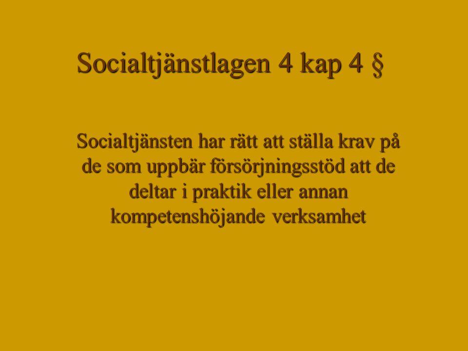 Socialtjänstlagen 4 kap 4 § Socialtjänsten har rätt att ställa krav på de som uppbär försörjningsstöd att de deltar i praktik eller annan kompetenshöj