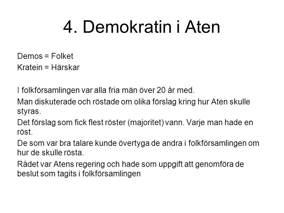 4. Demokratin i Aten Demos = Folket Kratein = Härskar I folkförsamlingen var alla fria män över 20 år med. Man diskuterade och röstade om olika försla