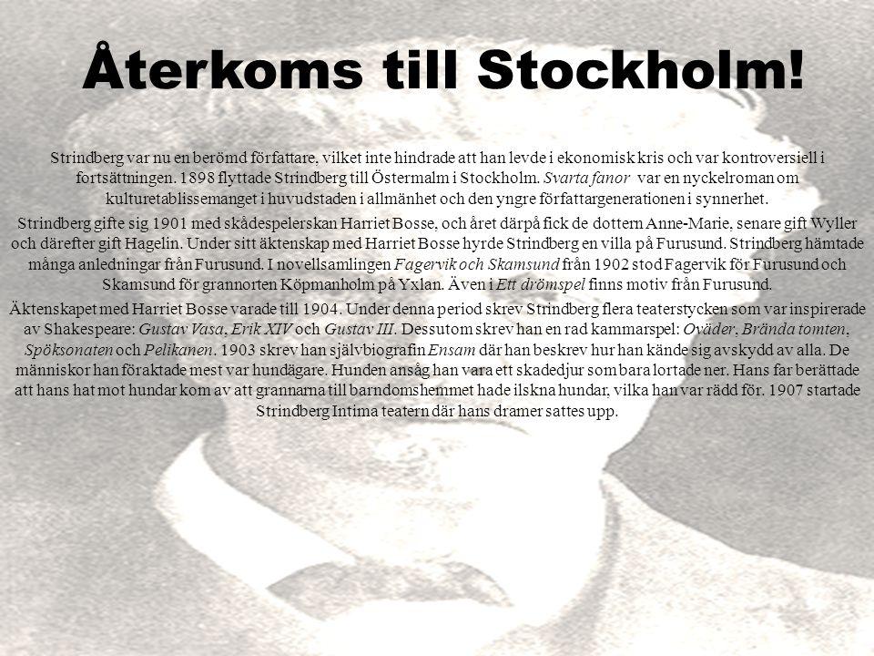 Återkoms till Stockholm! Strindberg var nu en berömd författare, vilket inte hindrade att han levde i ekonomisk kris och var kontroversiell i fortsätt