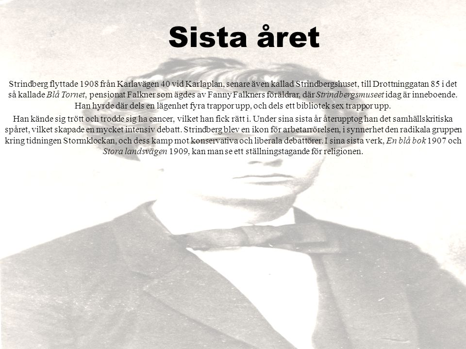 Sista året Strindberg flyttade 1908 från Karlavägen 40 vid Karlaplan, senare även kallad Strindbergshuset, till Drottninggatan 85 i det så kallade Blå
