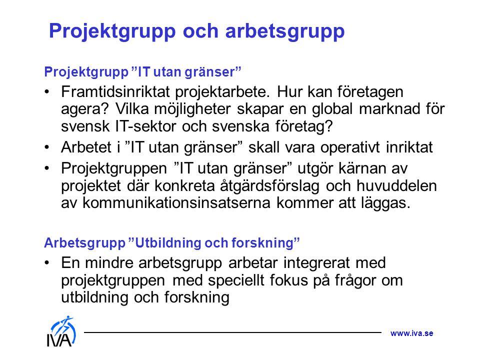 www.iva.se Projektgrupp och arbetsgrupp Projektgrupp IT utan gränser Framtidsinriktat projektarbete.