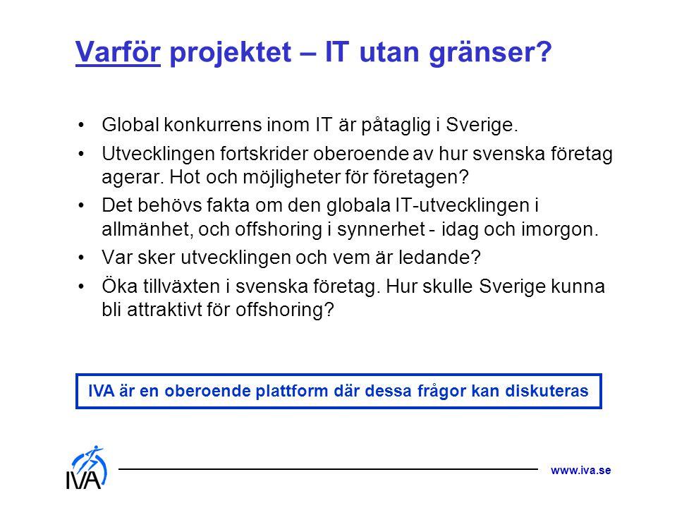 www.iva.se Varför projektet – IT utan gränser.Global konkurrens inom IT är påtaglig i Sverige.