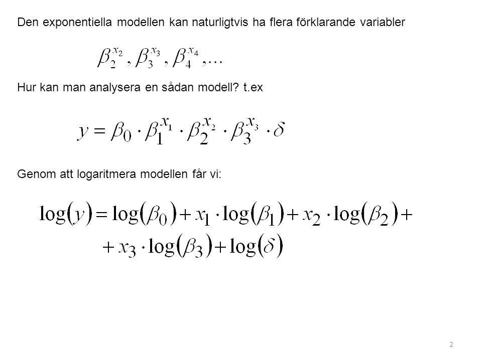 2 Den exponentiella modellen kan naturligtvis ha flera förklarande variabler Hur kan man analysera en sådan modell? t.ex Genom att logaritmera modelle
