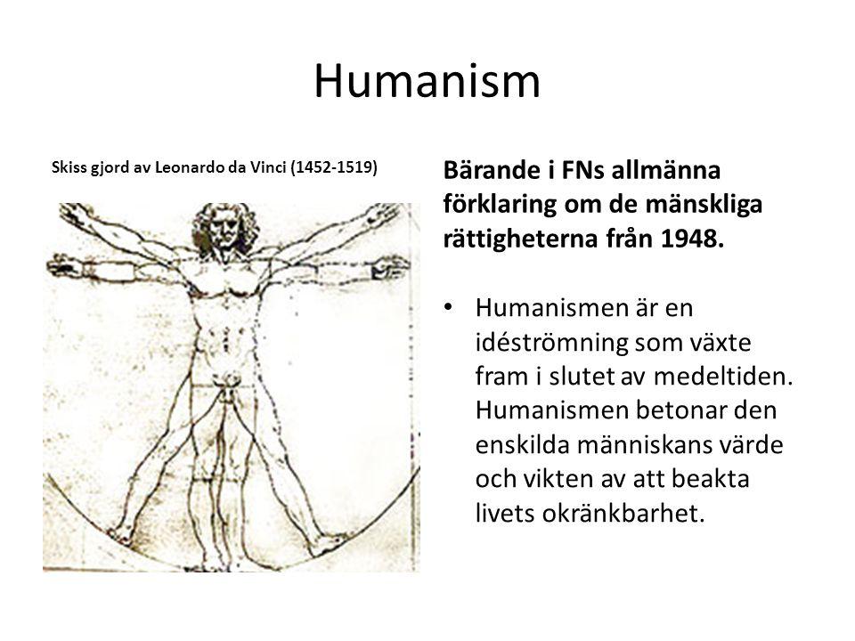 Skiss gjord av Leonardo da Vinci (1452-1519) Bärande i FNs allmänna förklaring om de mänskliga rättigheterna från 1948. Humanismen är en idéströmning