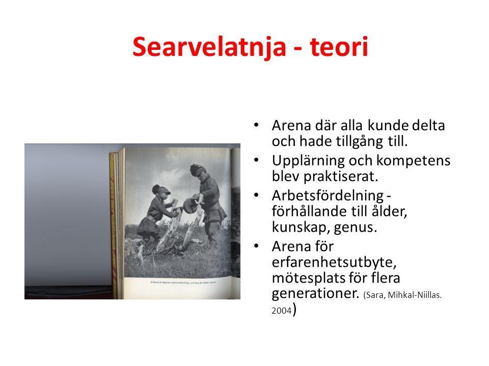 Searvelatnja – Laponiaprocessen ( i stadgarna) Skapa arena där alla kan delta, dit alla har tillgång till, Mötesplats för flera generationer, kulturer, språk och folk, Upplärning och kompetens blir praktiserat, Arbetsfördelning beroende på kunskap, erfarenheter, Arena för kunskaper, Arena för arbetsmoment,
