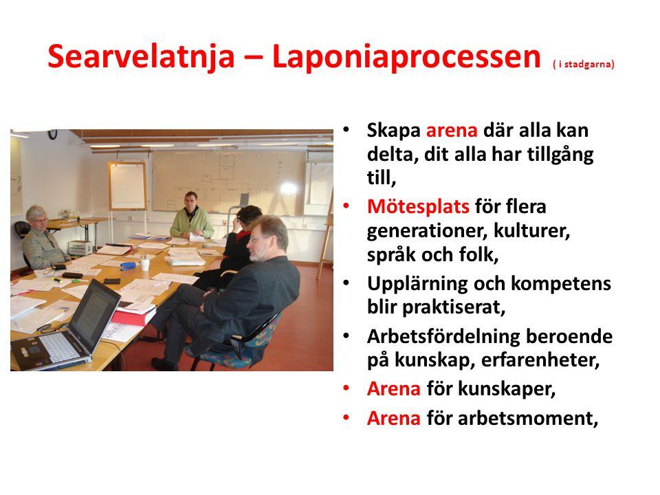 Searvelatnja (stadgarna) 1 § Laponiatjuottjudus är en searvelatnja – en arena och mötesplats där erfarenhets- och kunskapsutbyte präglas av öppenhet och ömsesidighet.