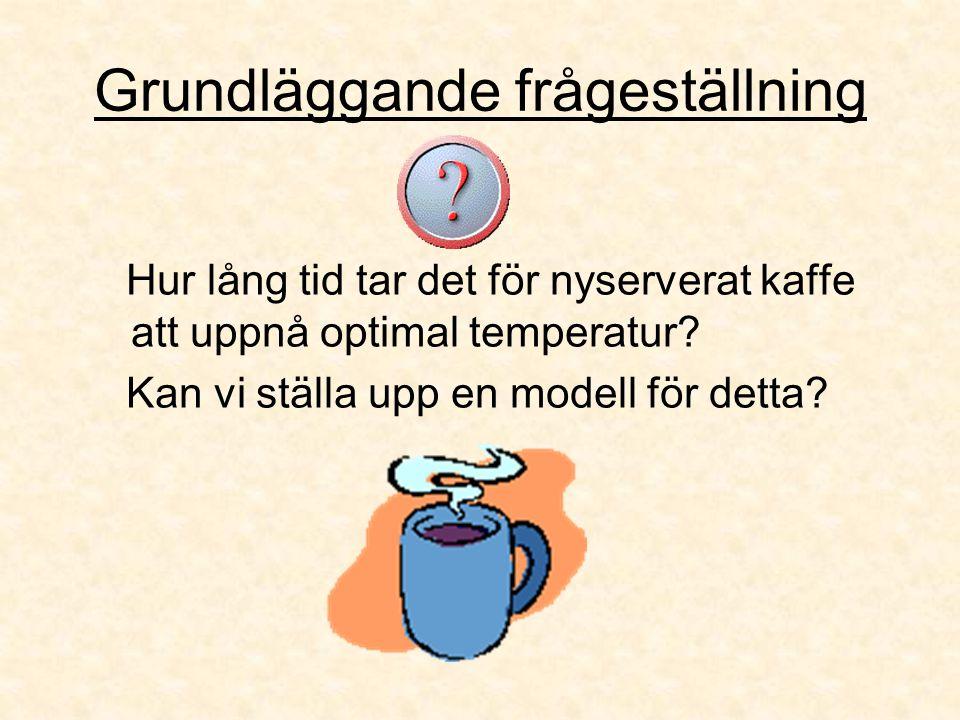 Grundläggande frågeställning Hur lång tid tar det för nyserverat kaffe att uppnå optimal temperatur? Kan vi ställa upp en modell för detta?
