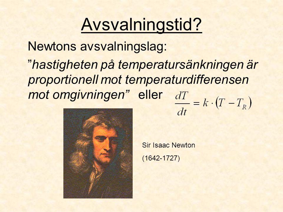 """Avsvalningstid? Newtons avsvalningslag: """"hastigheten på temperatursänkningen är proportionell mot temperaturdifferensen mot omgivningen"""" eller Sir Isa"""