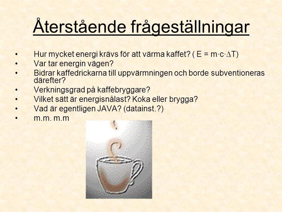 Återstående frågeställningar Hur mycket energi krävs för att värma kaffet? ( E = m·c·∆T) Var tar energin vägen? Bidrar kaffedrickarna till uppvärmning