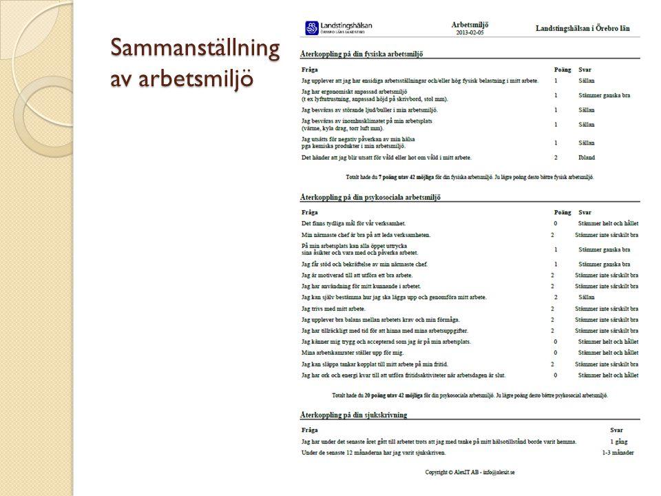 Sammanställning av webbenkäten Översiktlig summering av arbetsmiljöfrågorna