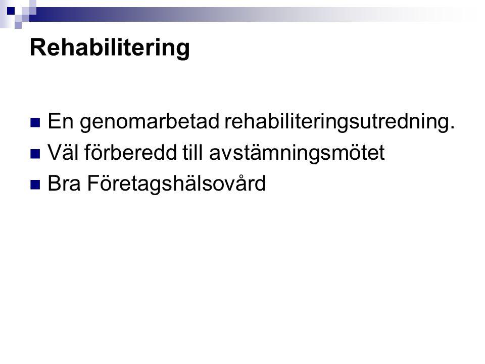 Rehabilitering En genomarbetad rehabiliteringsutredning. Väl förberedd till avstämningsmötet Bra Företagshälsovård