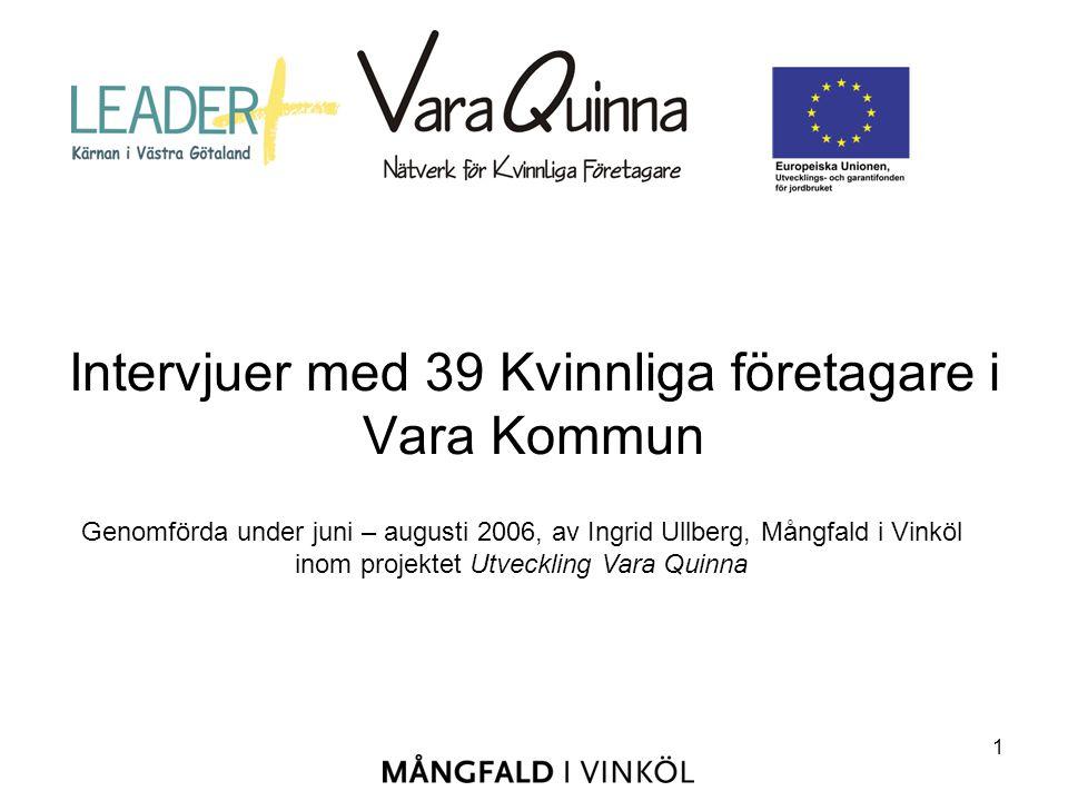 1 Intervjuer med 39 Kvinnliga företagare i Vara Kommun Genomförda under juni – augusti 2006, av Ingrid Ullberg, Mångfald i Vinköl inom projektet Utveckling Vara Quinna