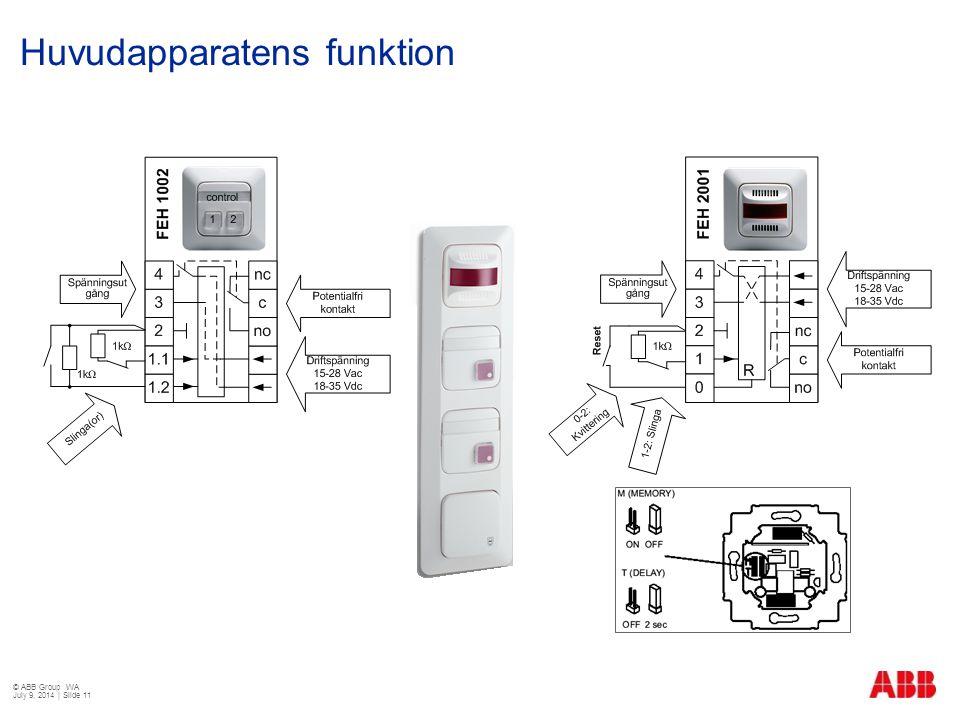 Huvudapparatens funktion © ABB Group WA July 9, 2014 | Slide 11
