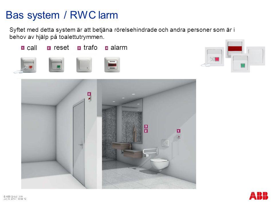 Bas system / RWC larm Syftet med detta system är att betjäna rörelsehindrade och andra personer som är i behov av hjälp på toalettutrymmen. call reset